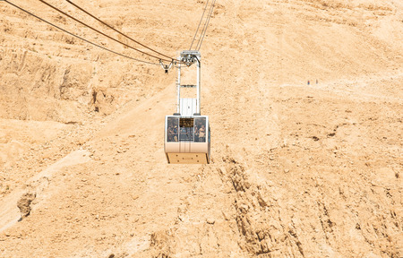 Cable car heading to the top of Masada National Park.