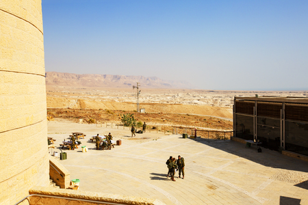 MASADA, ISRAEL - MARCH 22, 2019: Masada fortress, ancient fortification in Israel situated on top of an isolated rock plateau. Stock Photo