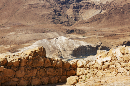 View from the Masada on the desert on a sunny day. Stok Fotoğraf