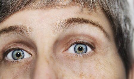 Un hermoso ojo de mirada perspicaz. Fotografía de cerca. El ojo de una anciana.
