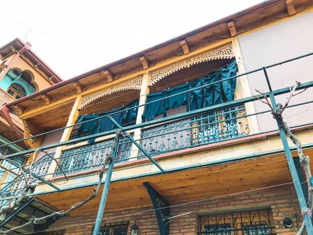 The old district of the city in Tbilisi, Georgia.The restored area of old Tbilisi. Tourism in Georgia, tourist area.