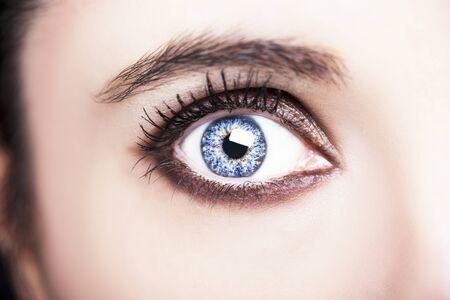 Un ojo de mujer hermosa mirada perspicaz. Fotografía de cerca.