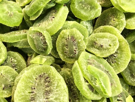 Closeup of delicious dried kiwi as background.