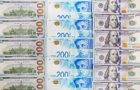 Israeli and American banknotes. Shekel and American dollars