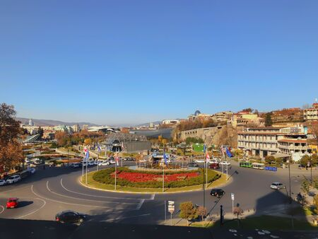 TBILISI, GEORGIA - December 17 2019: Beautiful landscape view of the old district with modern area. Old Tbilisi, winter in the city.