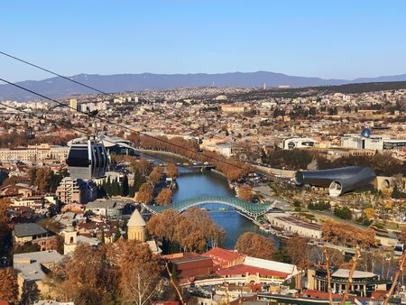 Beautiful landscape view of the old district with modern area. Old Tbilisi, winter in the city. 写真素材