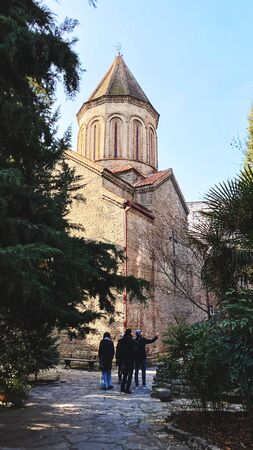 Beautiful view of the Jvaris Mama Orthodox Church in Tbilisi, Georgia. Stok Fotoğraf