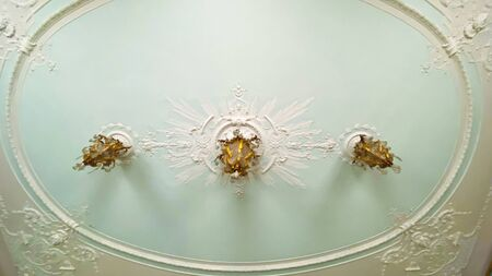 Beautiful part of the interior with a chandelier on the ceiling Stok Fotoğraf