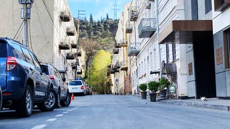 TBILISI, GEORGIA - APRIL 17, 2020: Empty Tbilisi, Street is normally gridlocked with shoppers and traffic