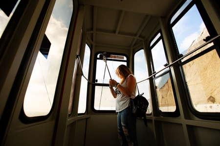 ROSH HANIKRA, ISRAEL - 6 SEPTEMBER, 2017: Cable car inside view Rosh Hanikra, Israel.