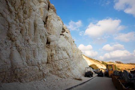 white rock limestone and blue sky rosh hanikra, Israel