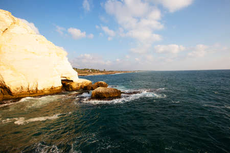 View of the sea from the cave rosh hanikra, Israel. Imagens