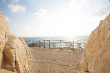 View of the sea from the cave rosh hanikra, Israel.
