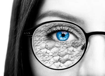 Beautiful young woman wearing glasses. Close-up shot Stock Photo