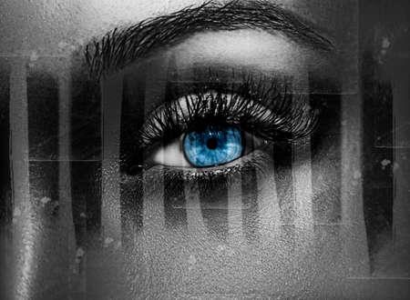 Glamour shiny metallic professional makeup. Beautiful eye close up