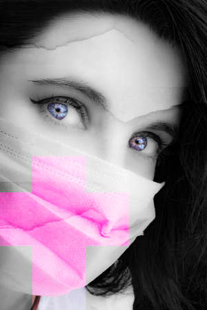 Cold, flu, virus, tonsillitis, respiratory disease, quarantine, epidemic concept. insightful look woman eyes in mask protection
