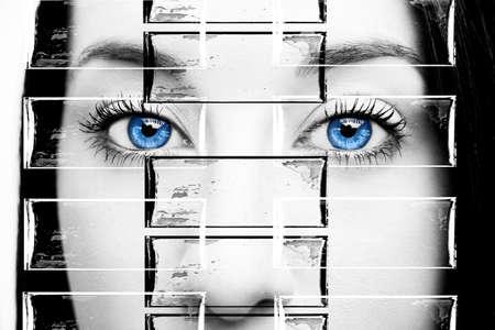 Beautiful insightful look brown woman's eyes Imagens