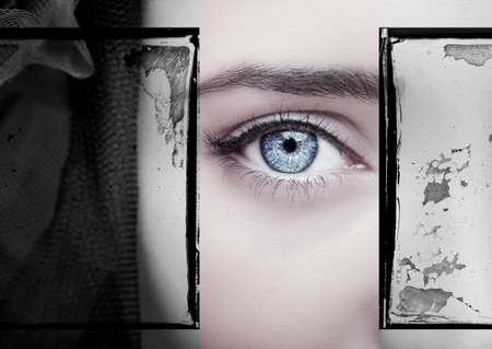 A beautiful insightful look woman eye. Close up shot. Imagens