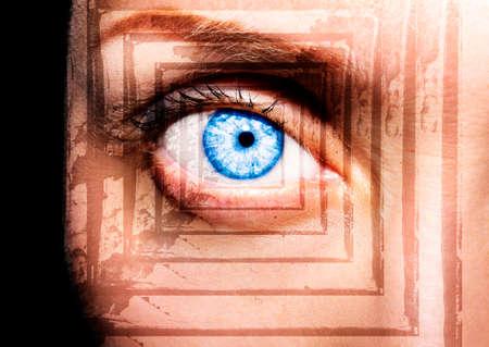 Beautiful insightful look blue woman's eye Imagens
