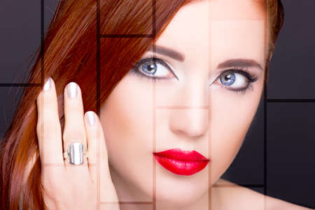 Portrait of beautiful woman with ring. Perfect makeup. Standard-Bild
