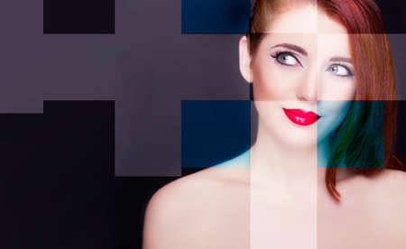 Portrait of beautiful redhead woman. Perfect makeup. Imagens