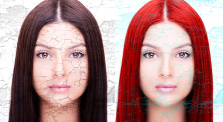Comparative portrait of woman before and after dyeing hairs isolated on white Standard-Bild