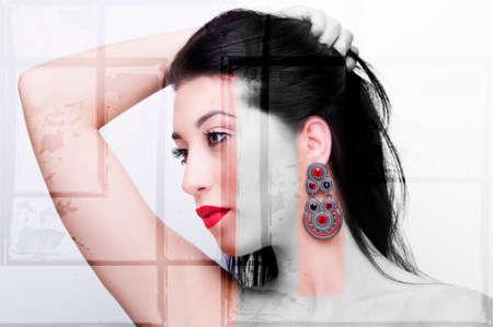 Beautiful woman face close up studio on white background Standard-Bild
