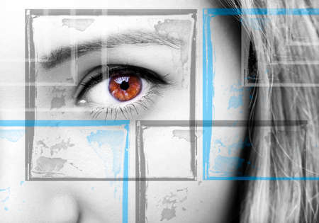 Beautiful insightful look brown woman's eyes Standard-Bild