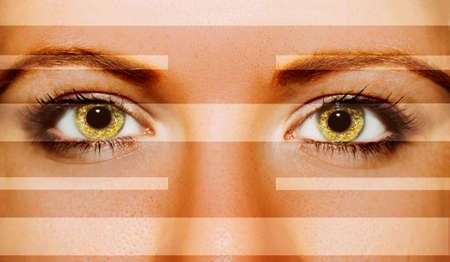 A beautiful insightful look woman's eyes. Close up shot Standard-Bild