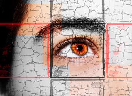 A beautiful insightful look girl's eye. Close up shot Standard-Bild