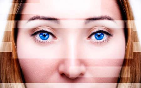 Beautiful insightful look blue woman's eyes. Vintage style