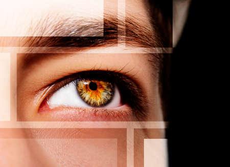 A beautiful insightful look man's eye. Close up shot Standard-Bild