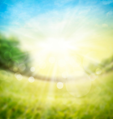 blurred spring summer nature background with green meadow, trees on  horizon and sun rays with bokeh