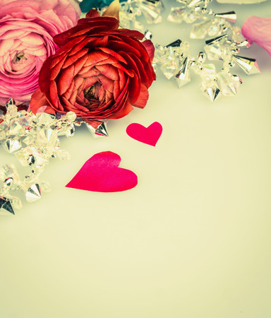 glas: roses with heart and glas garland, love background,  toning Stock Photo