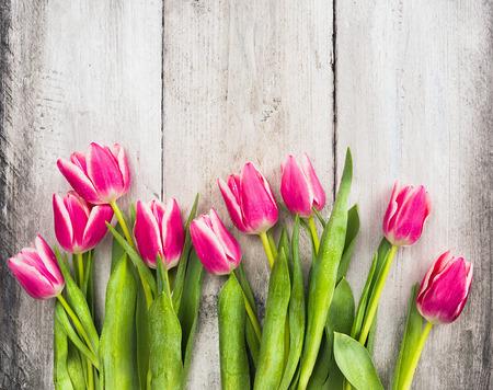 ピンクの灰色の木製の背景の上に新鮮なチューリップ花