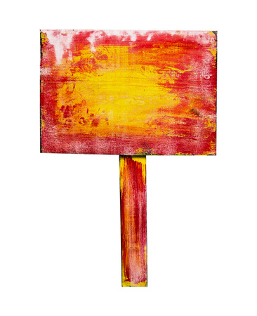 Red yellow wooden sign, isolated on white background photo