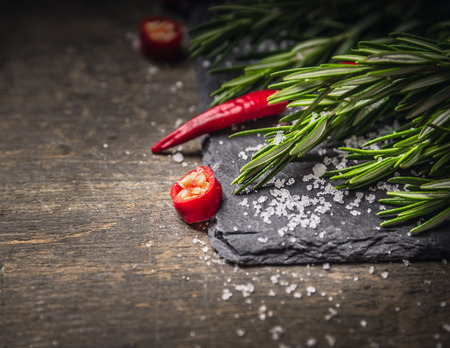 rosemary branch and red chili with salt on dark slate and wooden background photo
