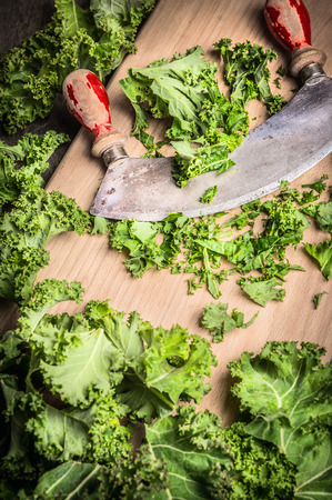 mincing: Fresh kale chopping mincing knife with old