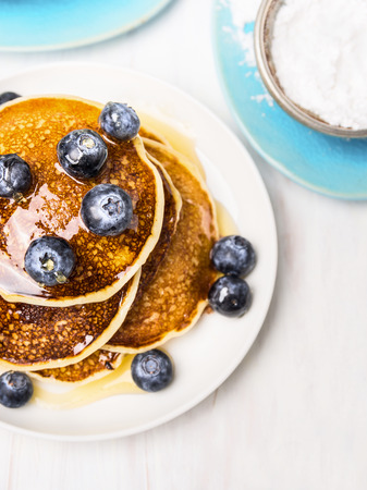 close p: Sweet pancakes with blueberries