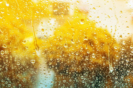 drizzling rain: Autumn galss window with raindrops, background Stock Photo