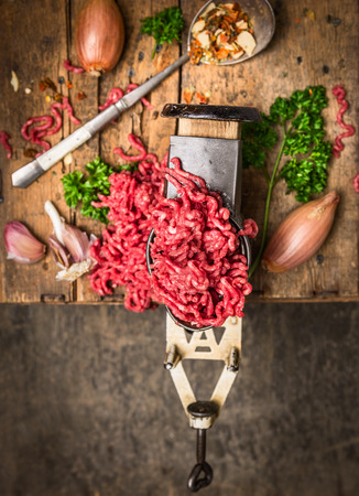 lean machine: Minced meat in vintage grinder on background of herbs and spices on dark wooden table