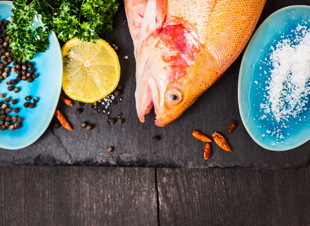 kitchen background: raw rainbow trout with salt, herb and spacy in blue plates on dark wooden table, food background top view Stock Photo