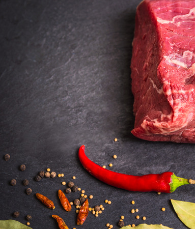 close p: Raw beef with spices on dark slate, food background with copyspace