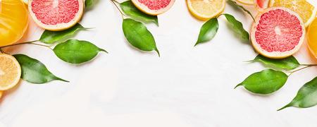 柑橘系の果物のスライス オレンジ、レモン、グレープ フルーツ、緑色の葉とのウェブサイトのためのバナー