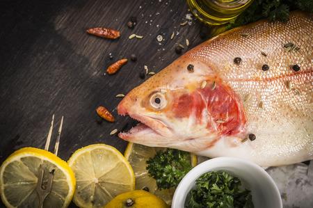 fish rearing: raw rainbow trout fish preparation Stock Photo