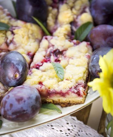 comida alemana: pastel de ciruela en la placa