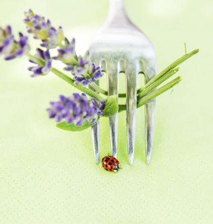 septempunctata: Ladybug on fork with lavender, table decoration