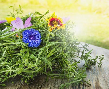 wild herbs: cornflower and summer herb decokartion