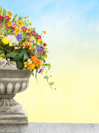 antique vase: Antique vase with flowers on sky background