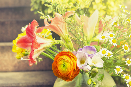cut flowers: Summer sunny flowers bunch, toning
